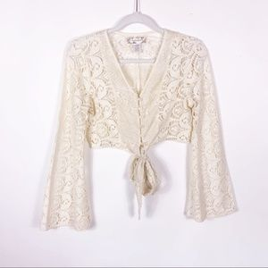 Band of Gypsies Lace Bell Sleeve Corset Top SM